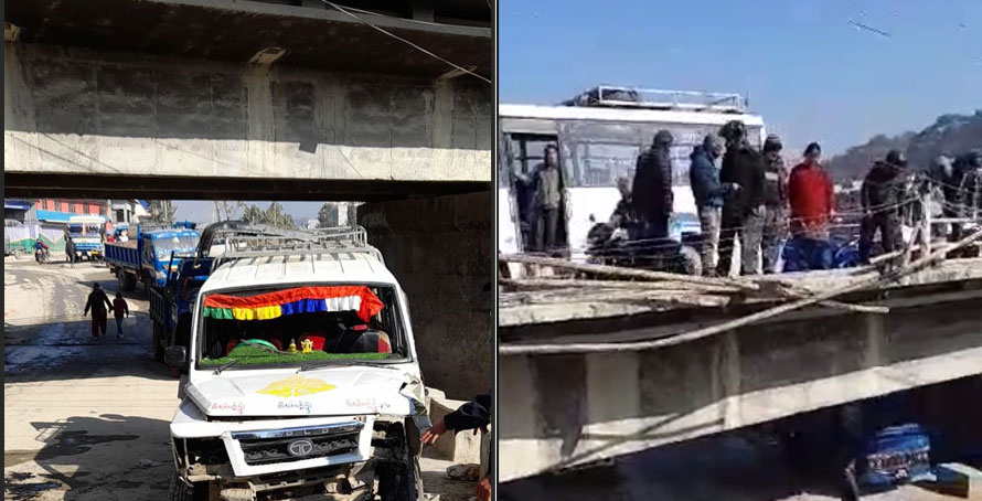 काठमाडौंमा पुलबाट सुमो खसेर दुर्घटना