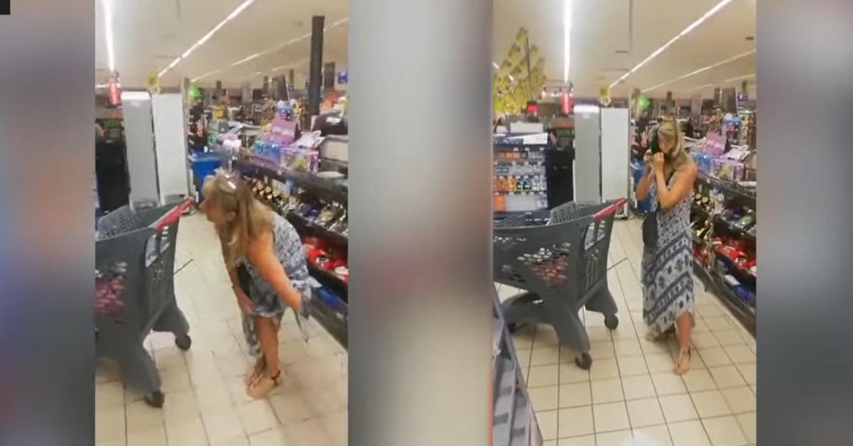 मास्क नलगाएले सुपरमार्केटबाट निकाल्न खोजेपछि 'भित्री वस्त्र' खोलेर लगाइन् (भिडियो)