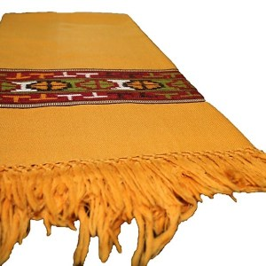 Kullu Wool Women Shawl-Mustered Color with Embroidery