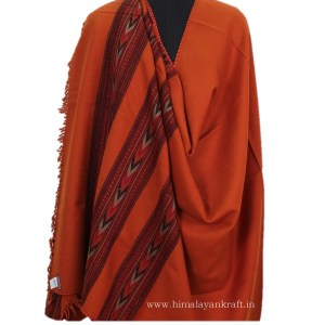 Pure Woolen Shawl Embroidered Orange Color for Women