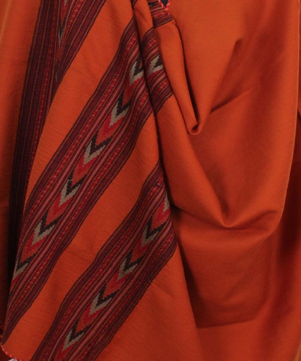 Pure Woolen Shawl Embroidered Orange Color for Women-www.himalayankraft.in