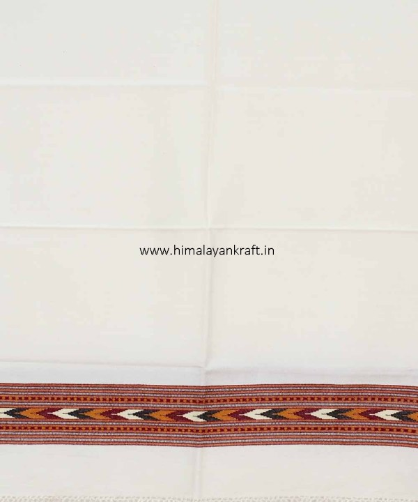Wool Stole Purely Handloom Embroidered Kullu White-www.himalayankraft.in