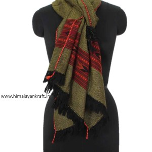 Traditional Stole Woolen Handwoven Embroidered Handloom Himachal