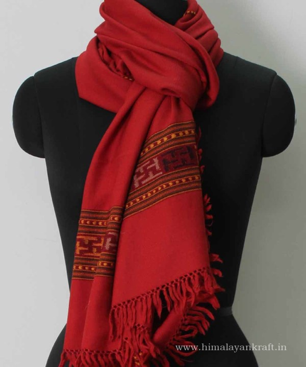 Woolen Scarf Stoles Handloom Embroidered Kullu Red