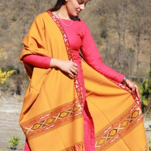 Wool Shawl Indian Handloom for Women (Golden Yellow)