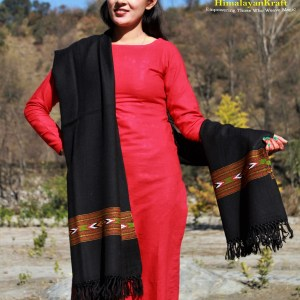 Black Embroidered Hand Woven Pure Wool Kullu Shawl