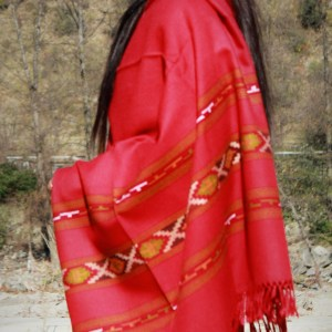 Handwoven Flowered Pure Wool Large Kullu Shawl (Red)