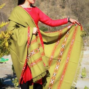 Handwoven Woolen Himachal Handloom Shawl (Lime Green)