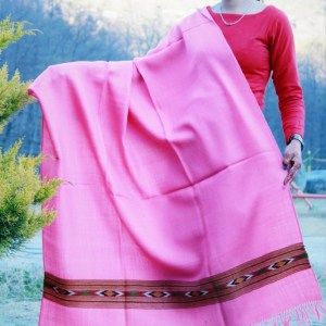 Pink Hand Woven Pure Wool Indian Shawl Himachal Handloom