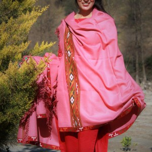 Women's Wool Shawl Kullu Hand Woven 100% Hand Made (Pink)