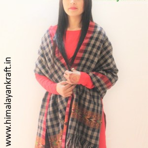 HimalayanKraft's Black White Stripped Traditional Design Kullu Stole