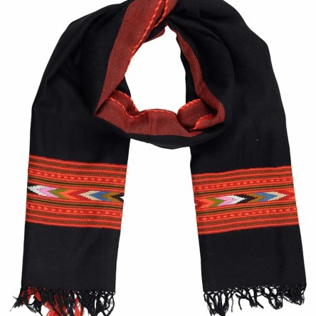 HimalayanKraft's Hand Woven Pure Wool Stole with Kullu Weaving Design