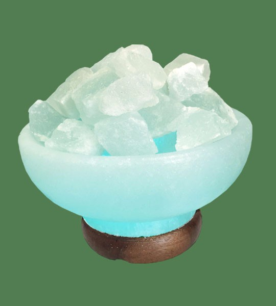 Himalayan Salt Lamp Blue Round Fire Bowl White crystal with blue bulb