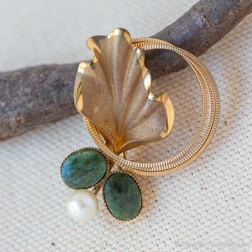 dce-K14天然石-真珠と翡翠のサークル・ブローチ