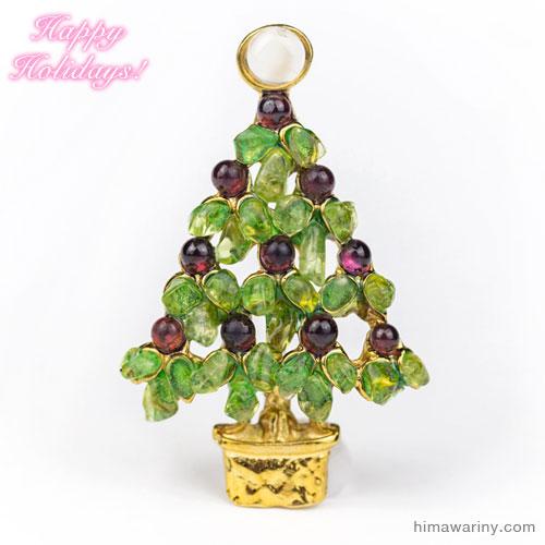 Swoboda スワボダ-天然石クリスマスツリー・ヴィンテージ・ブローチ [ペリドット&ガーネット](メイン)