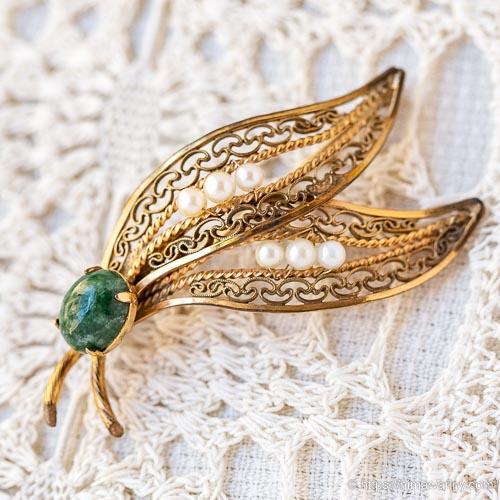 Winard-K12金-真珠のしずく翡翠の実・ヴィンテージブローチ