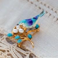 Swoboda スワボダ-天然石-鳥の巣青い鳥ブローチ