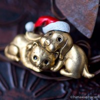 Danecraft-サンタ・ドッグ&ラブリー・キャット・クリスマス・ブローチ
