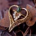 Winard-K12金-真珠と翡翠のハート紋章ブローチ