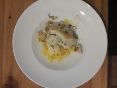 Safranrisotto mit Fisch