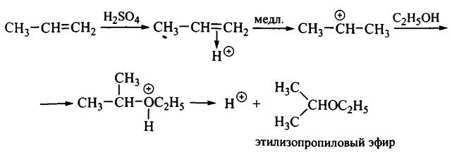Реакции электрофильного присоединение к алкенам этилизопропиловый эфир