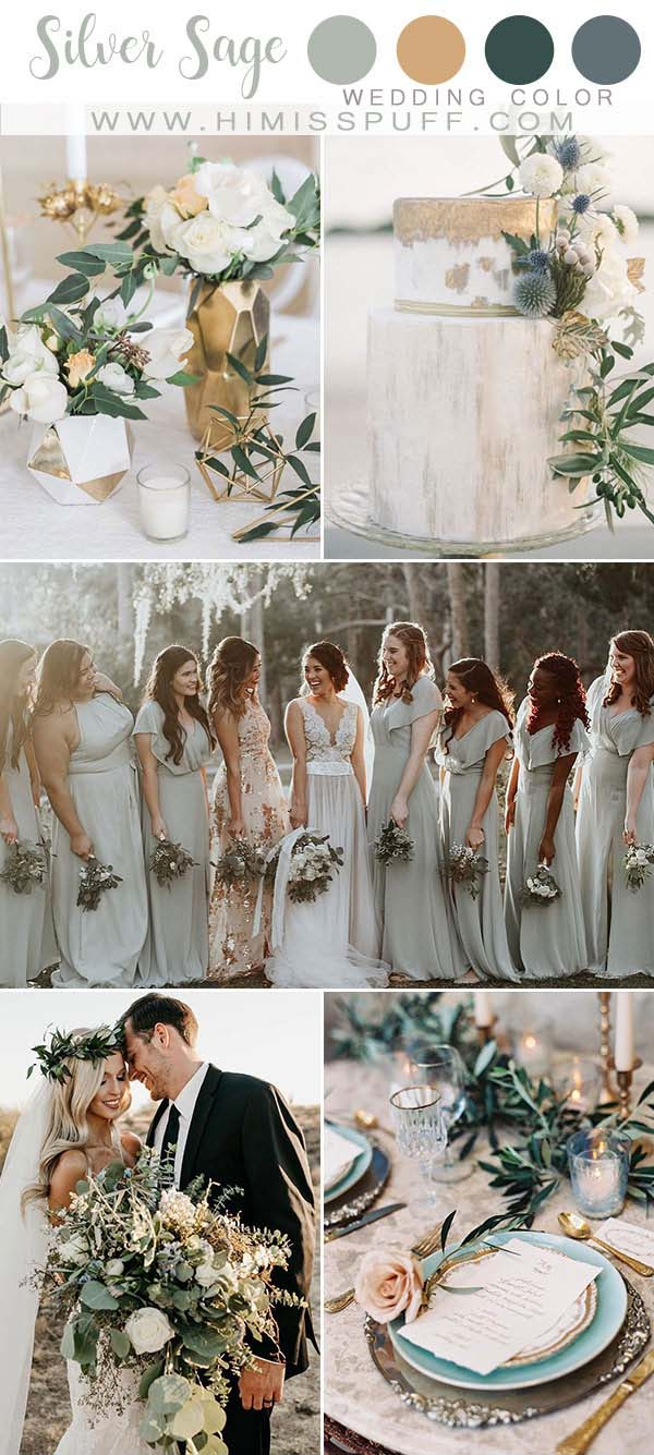 Silver Sage Dusty Sage wedding color Bridesmaid dresses Wedding Color Palettes