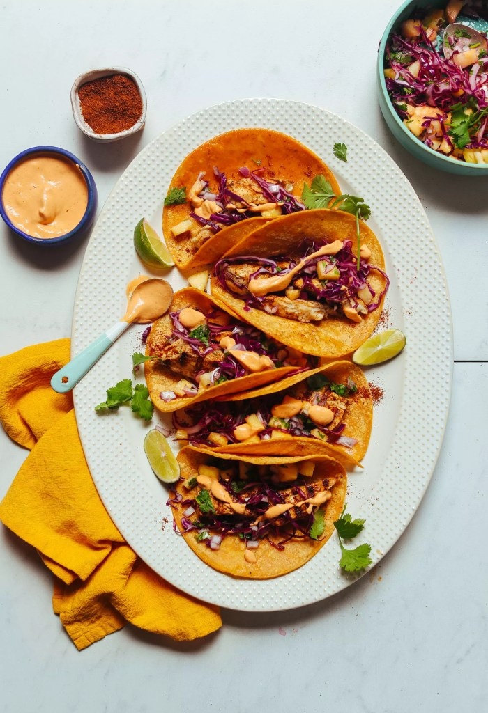 Grilled Fish Tacos With Pineapple Cabbage Slaw