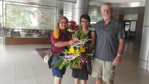 Phu Ly is famous for its flowers and Van brought some for Christine..