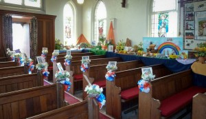 Inside of church with flowers