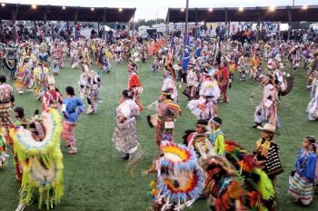 Grand Celebration PowWow, Hinckley MN. Colorful dancing contest. PowWow contest of the Ojibwe at the Grand Casino Hinckley