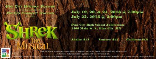 Shrek the Musical poster at Pine City MN