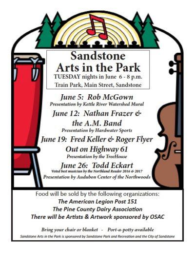 Sandstone Park summer activities June poster