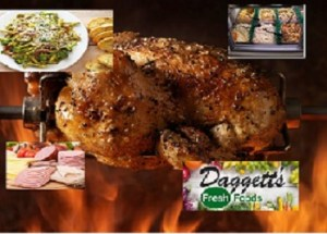 deli meats, pasta, rotisserie chicken foods at Dagetts grocery in Hinckley MN