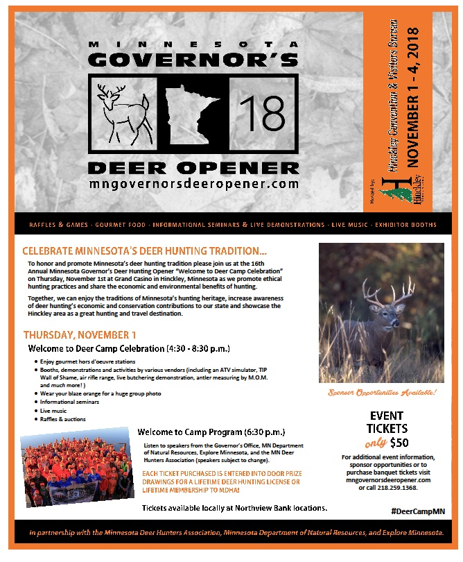 MN Gov Deer Hunting Opener Poster with Schedule 2018 in HInckley MN