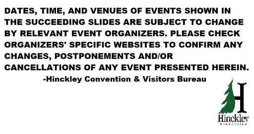 Hinckley MN Events Disclaimer