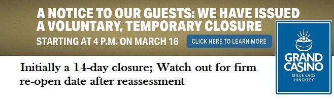 Grand Casino temporary closure corona 2020