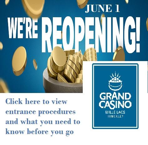 Grand Casino Hinckley reopening