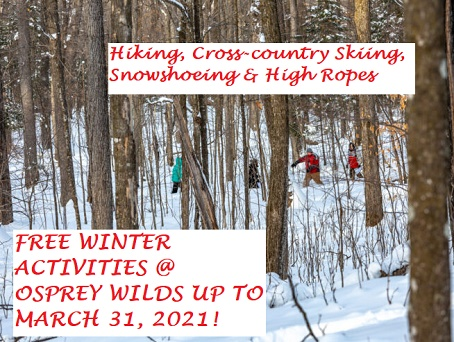 hiking, snowshoeing, high ropes, skiing