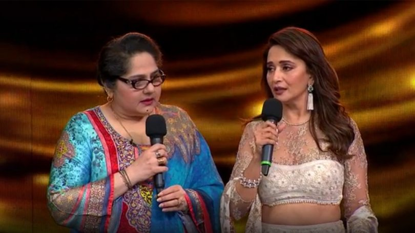 Madhuri Dixit offers 5 Lakh Rupees Check to Shagufta Ali on behalf of the Dance Deewane 3 team |  Dance Deewane 3: Madhuri Dixit extended a helping hand, gave a check of ₹ 5 lakh to Shagufta