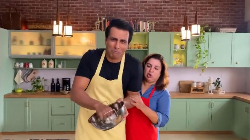 Sonu Sood doing dishwashing on his birthday and Farah Khan making him do it from New Year |  Sonu Sood washing dishes at Farah Khan's house on his birthday?  Fans were also stunned after seeing the video