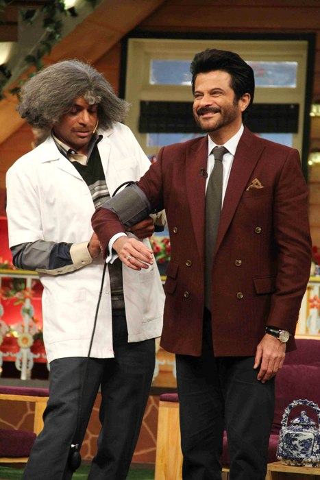 Bollywood actor Anil Kapoor with stand-up comedian Sunil Grover during the promotion of film Mirzya on the sets of The Kapil Sharma Show in Mumbai, India September 30 2016.(Utsav Devdutta/ SOLARIS IMAGES)