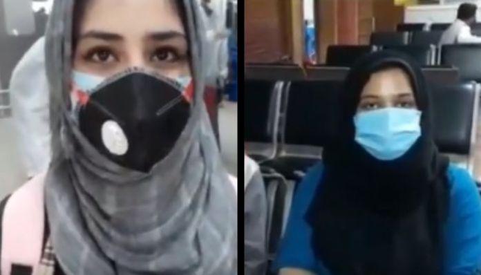 बांग्लादेश से श्रीनगर लौटने वाली छात्राएँ