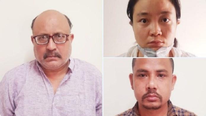 राजीव शर्मा (बाएँ), चीनी महिला और उसका नेपाली सहयोगी