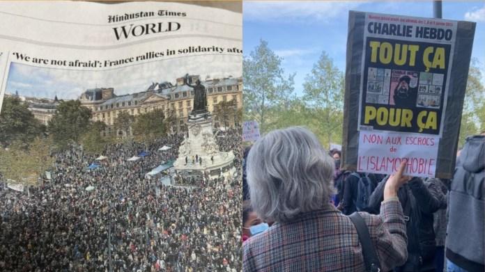 फ़्रांस-शिक्षक की हत्या पर प्रदर्शन