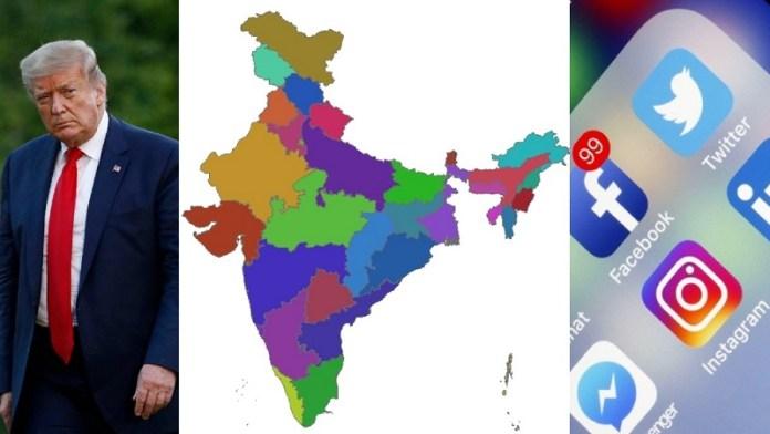 ट्विटर-फेसबुक, भारत, ट्रम्प