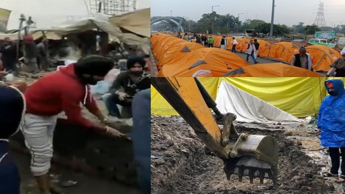 सिंघू बॉर्डर पर अवैध निर्माण