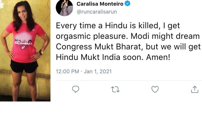 कारालीसा मोंटेरियो, ट्वीट, हिन्दू