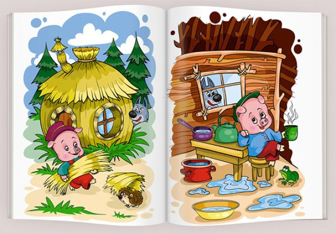 Three little pigs story in Hindi with moral