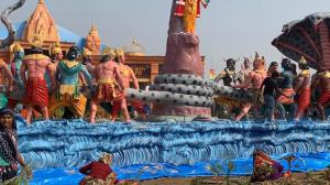 Artwork Samudra Manthan at Prayagraj Kumbh