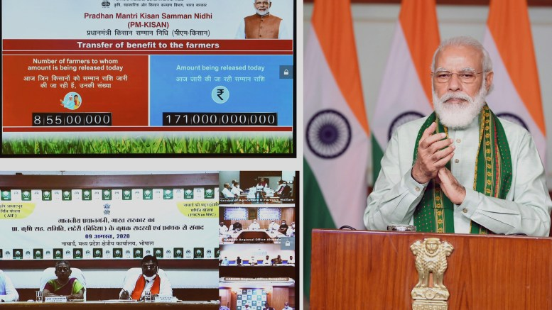 The Prime Minister, Shri Narendra Modi launches the financing facility of Rs.1 Lakh crore under Agriculture Infrastructure Fund through video conferencing, in New Delhi on August 09, 2020.